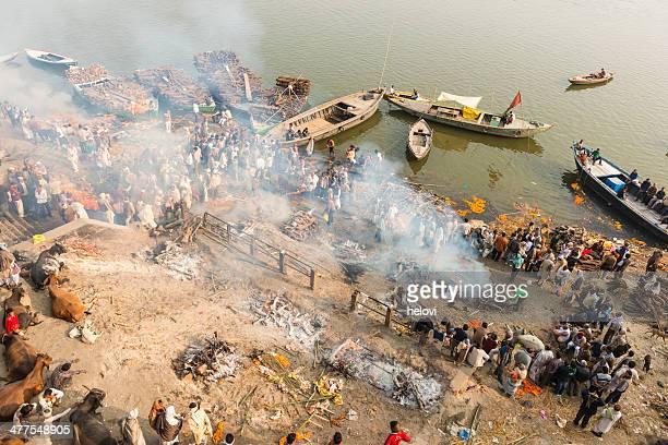 varanasi india - crematorium stock photos and pictures