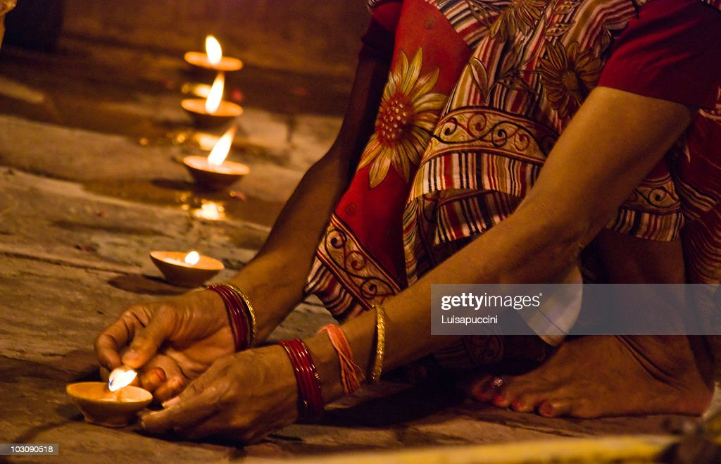 Varanasi, night puja : Foto de stock
