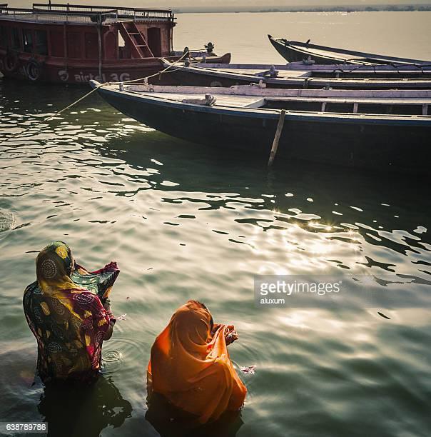 Varanasi pilgrims praying India