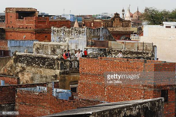 varanasi rooftops - dafos stock photos and pictures