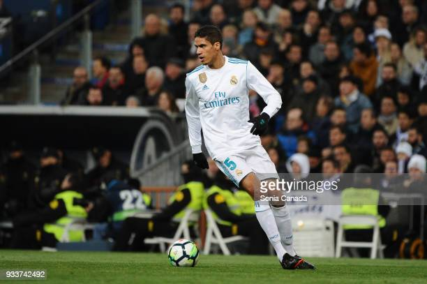 Varane #5 of Real Madrid during the La Liga match between Real Madrid v Girona at Santiago Bernabeu on March 18 2018 in Madrid Spain