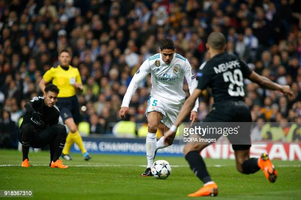 Varane in action during the UEFA Champions league round of 16 match first leg football match between Real Madrid and Paris Saint Germain at Santiago...