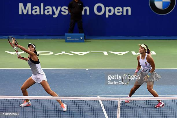Varatchata Wongteanchai of Thailand and Zhaoxuan Yang of China in action against YiFan Xu of China and Zarina Diyas of Kazakhstan during the Doubles...