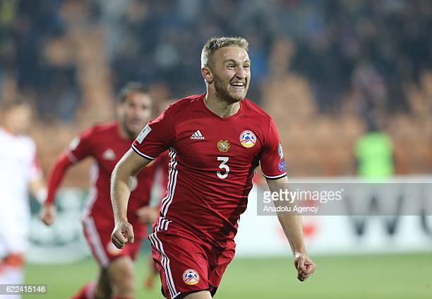 Varazdat Haroyan of Armenia celebrates after scoring a goal during the FIFA World Cup 2018 qualifying match between Armenia and Montenegro at Vazgen...