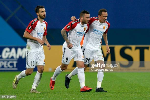 Vardar Skoplje's players celebrate a goal during the UEFA Europa League Group L football match between FC Zenit and FK Vardar in Saint Petersburg on...