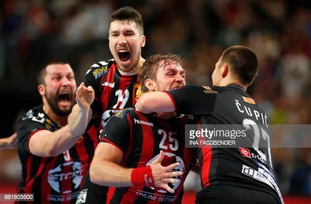 Vardar's Stojanche Soilov Alex Dujshebaev Dovichevaeva Luka Cindric and Ivan Cupic celebrate the 2625 victory during Handball EHF Champions League...