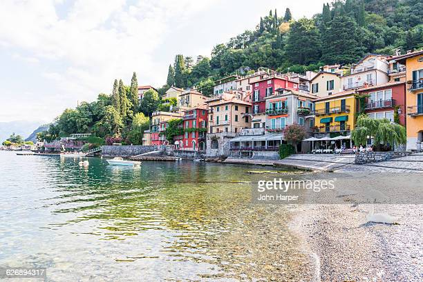 varenna in lake como,  italy - freshwater bird stock photos and pictures