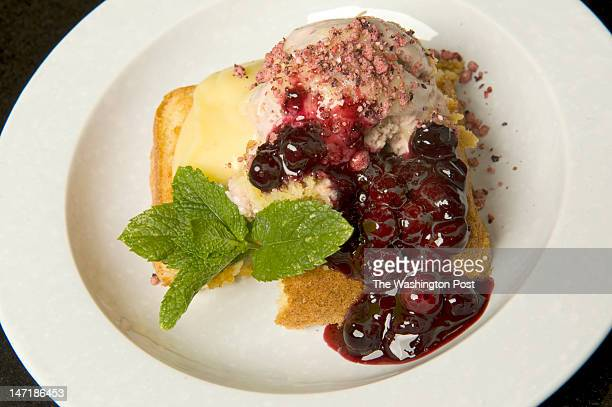 A variation of components of a layered cake can be made into different type of dessert using leftover brown butter cake lemon curd blueberry compote...