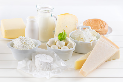 Variation of dairy products on white background 1130523609