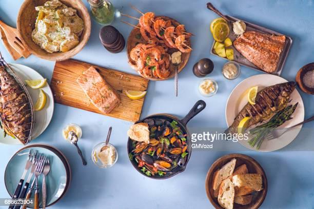 Variatie van vis en zeevruchten-Barbecue
