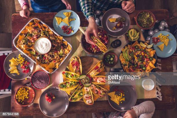 variation of mexican tacos with spicy salsa and nacho tortilla chips - mexican culture stock photos and pictures