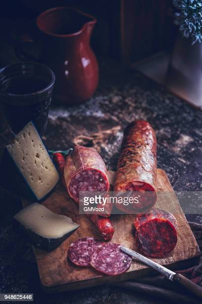 variation of spanish salami, sausage, ham and good quality cheese - tapas stock photos and pictures