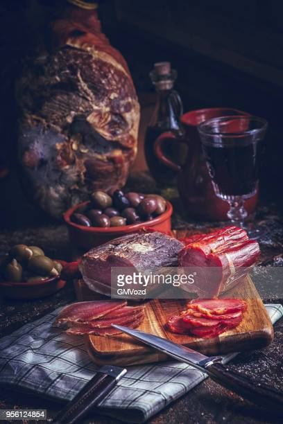 variation of spanish salami, sausage, ham and good quality cheese - iberian stock photos and pictures