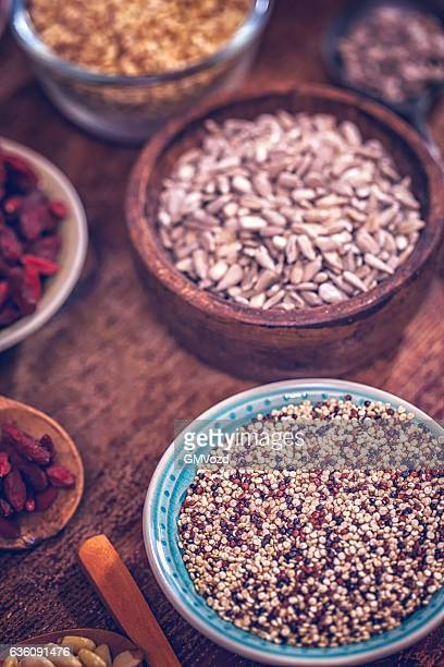 Variation of Superfood Chia, Quinoa, Poppy Seed and Nuts