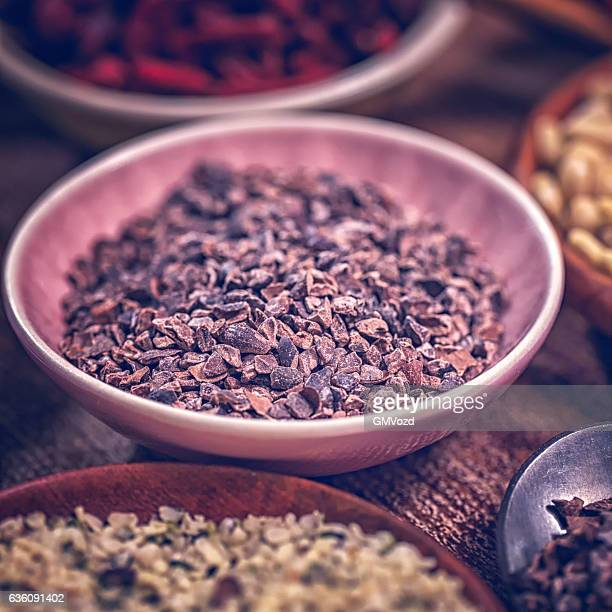Variation of Superfood Cocoa, Chia, Quinoa, Poppy Seed and Nuts