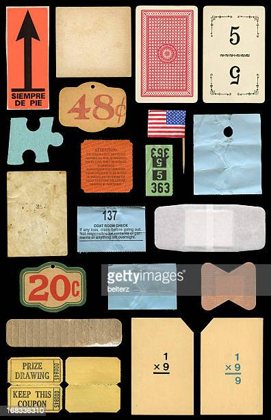 varied paper ephemera - tag game stock photos and pictures