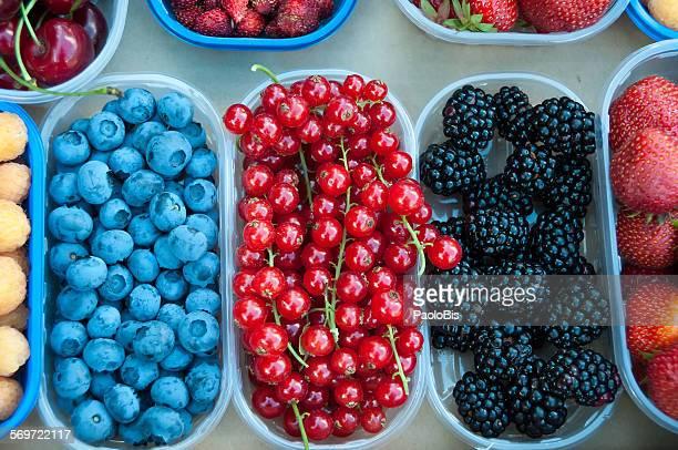 Varieties of berries, ready for sale