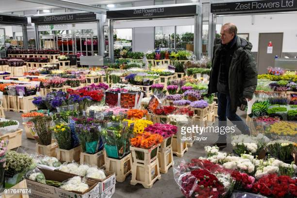 Varieties of flowers for sale on display at New Covent Garden Flower Market ahead of Valentine's Day on February 13 2018 in London England New Covent...