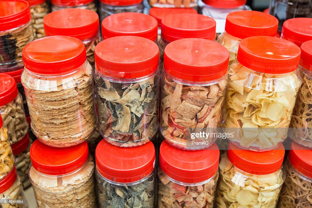 Variety Chinese New Year cookies in jars : Stock-Foto