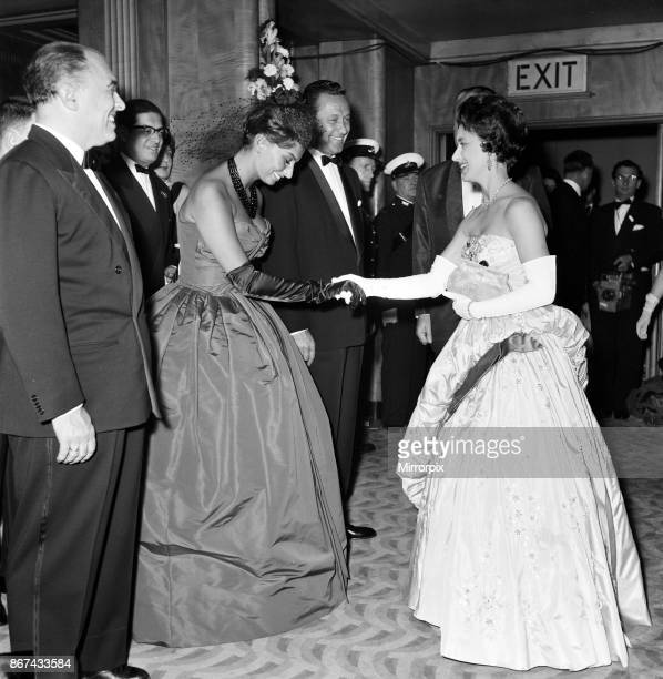 Variety Club charity premier of 'The Key' Odeon Leicester Square London Sophia Loren being presented to Princess Margaret on Sophia's left is William...