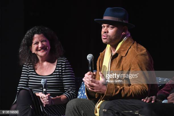 Variety Executive Editor TV Debra Birnbaum and director Anthony Hemingway speak during a screening and QA for 'Unsolved The Murders of Tupac and the...