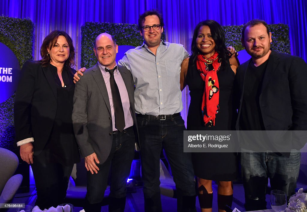 Variety Executive Editor TV Debra Birnbaum, writer Matthew Weiner of 'Mad Men', writer Andrew Kreisberg of 'The Flash', writer Courtney Kemp Agboh of 'Power' and writer Gideon Raff of 'Dig' attend Variety's A Night In The Writers' Room at the Four Seasons on June 9, 2015 in Los Angeles, California.