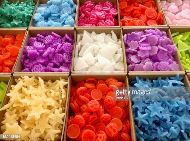 Variety of artisan multi-colored soap