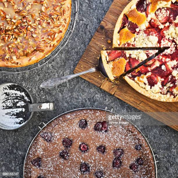 Variety of baked cakes
