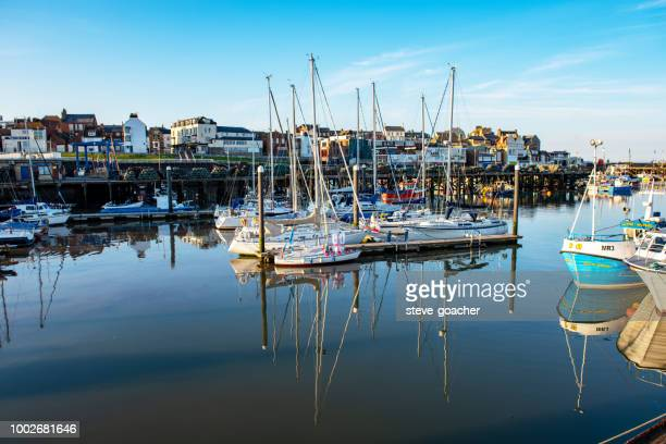 a variety of boats at anchor in bridlington harbour - bridlington stock pictures, royalty-free photos & images