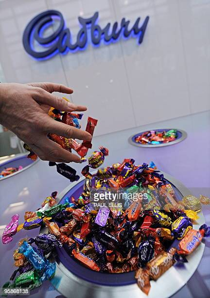 A variety of Cadbury's chocolate products are pictured at the entrance to the head office of Cadbury in Birmingham central England on January 19 2010...