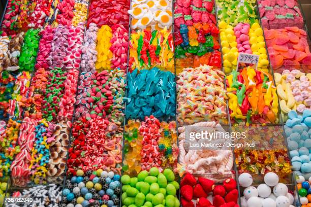 Variety of candy at Boqueria Market, one of the most famous markets around Spain and the most famous in Barcelona