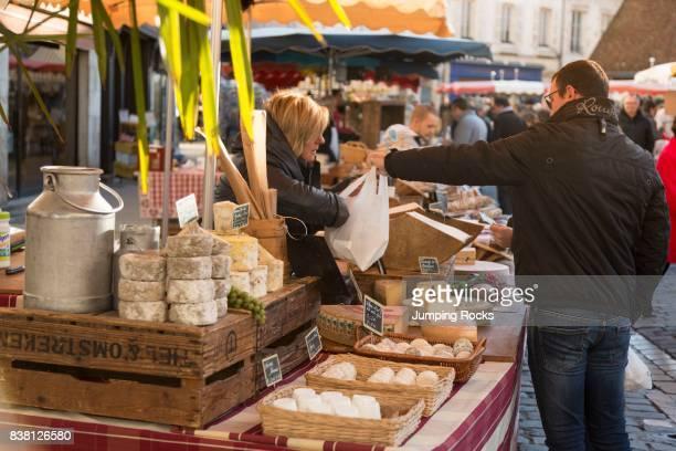 Variety of Cheese at Saturday Market Beaune Burgundy France