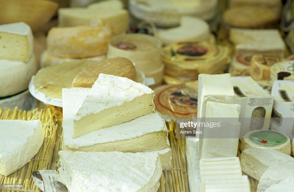 Variety of cheese, elevated view : Stock Photo