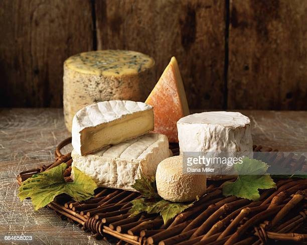 Variety of cheese on wicker tray