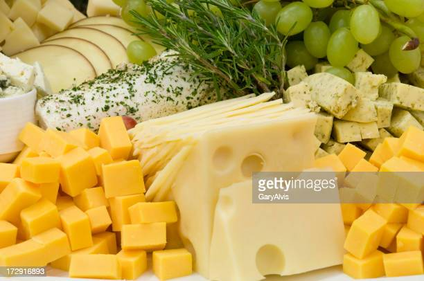 Variety of cheeses on platter-close up