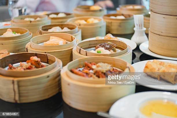 A Variety Of Chinese Dumpling Dishes On Table