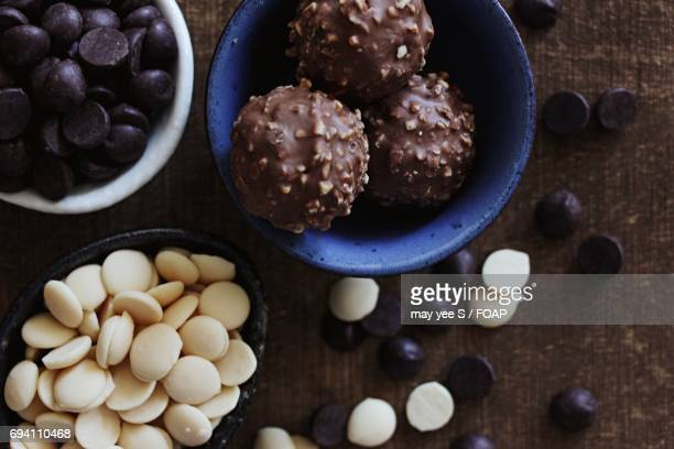 Variety of chocolates in bowl