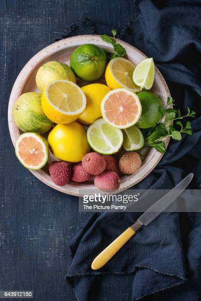 Variety of citrus fruits with tiger lemon