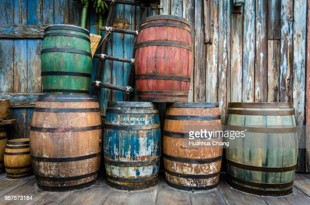 A variety of colorful barrels.
