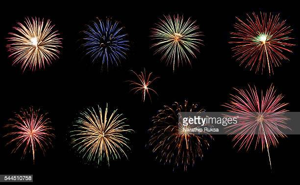 a variety of colorful fireworks isolated on black background - firework display stock pictures, royalty-free photos & images