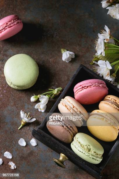 Variety of colorful french sweet dessert macaron macaroons with different fillings served in black wooden box with spring flowers over dark texture...