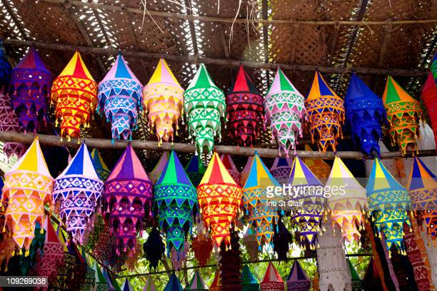 variety of colorful indian shades - panjim stock photos and pictures