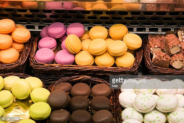 Variety Of Colorful Macaroons Cookie At Traditional Market