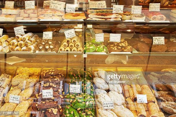 Variety of cookies in display case