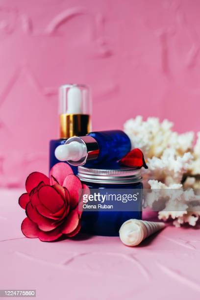 a variety of cosmetic packaging with white cora - beauty salon ukraine stock pictures, royalty-free photos & images