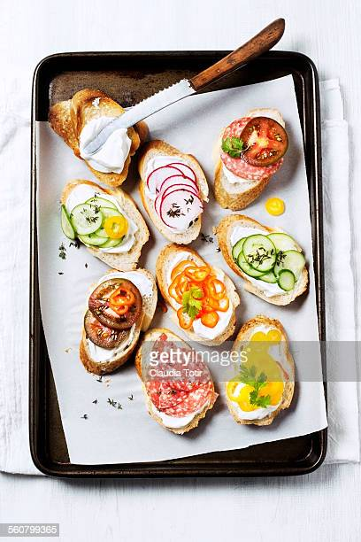 variety of crostini - pepperoni stock photos and pictures