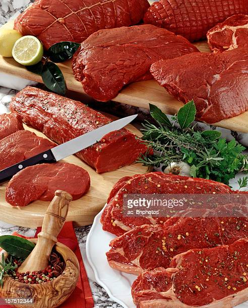 A variety of cuts of raw red meat with assorted spices