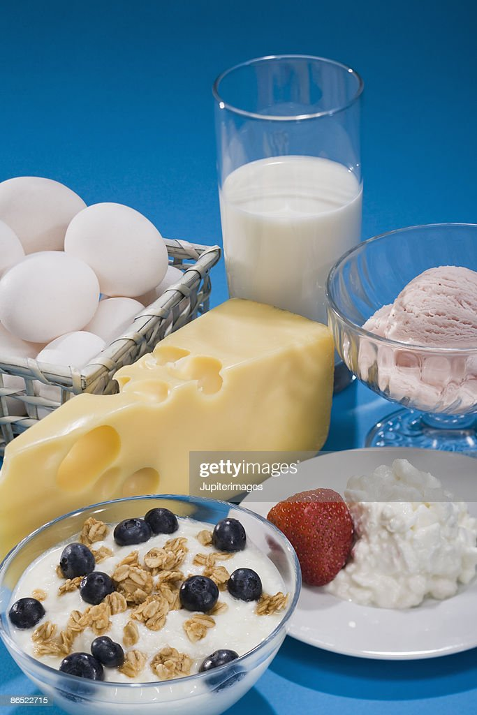 Variety of dairy foods : Stock Photo