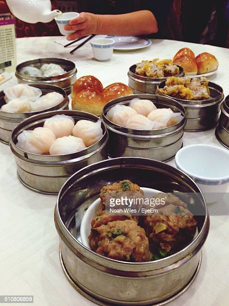 Variety of dim sum in containers