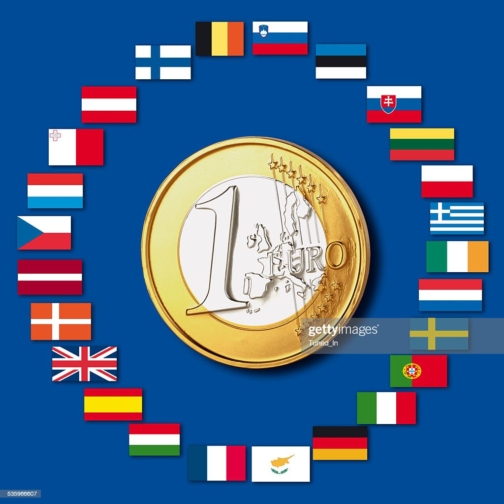 Variety of european flags around one euro coin, close up : Stock Photo